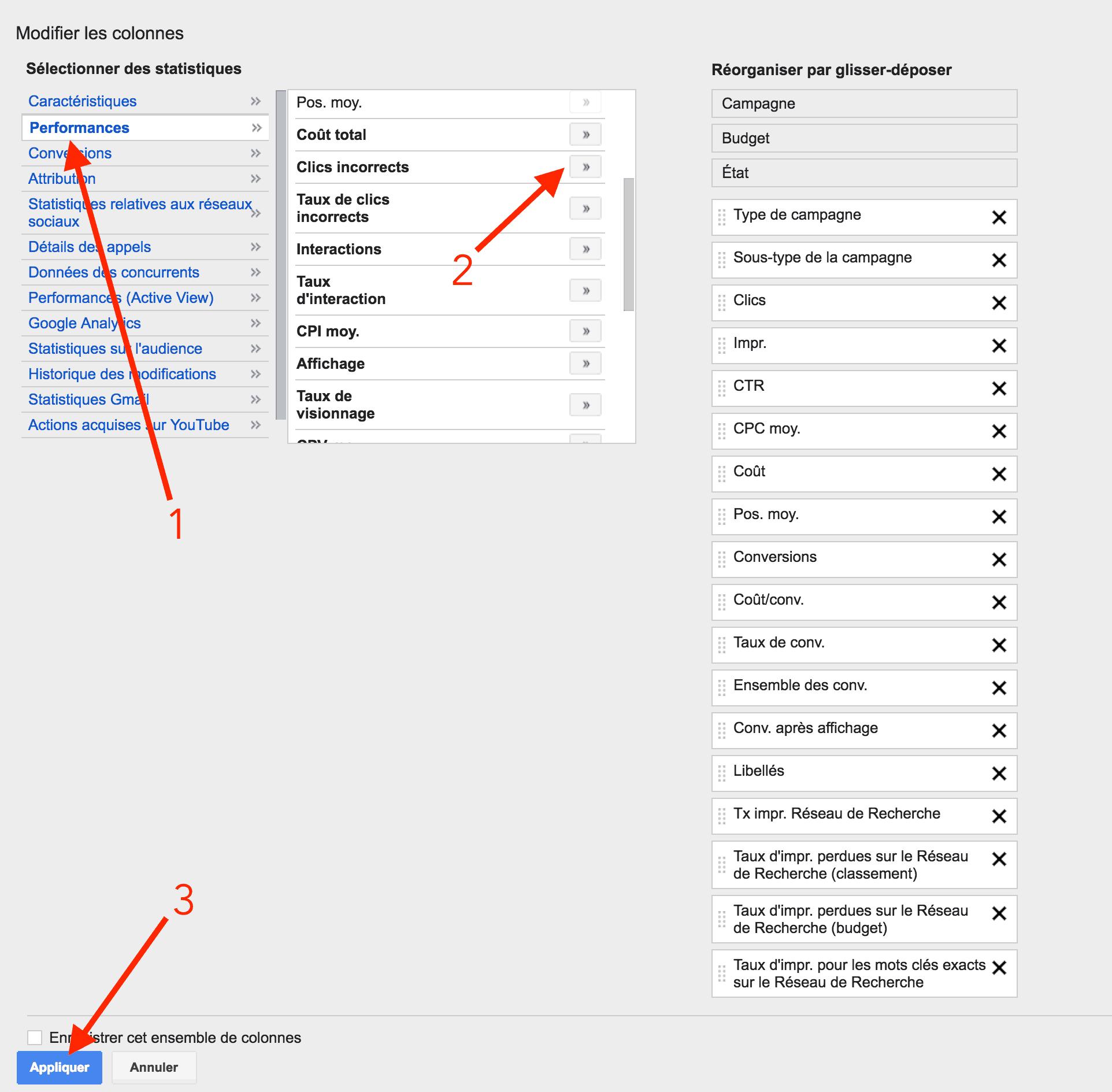 Affichage de la colonne clics incorrects sur Adwords